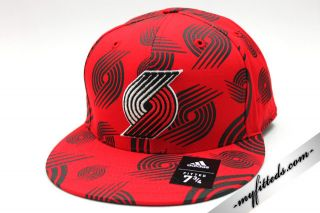 Adidas Portland Trail Blazers NBA Fitted Cap Red New