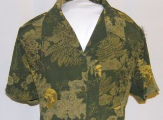Adrian Karen Hawaiian Shirt Shrt Slve Dark Olive w Varying Olive Gold