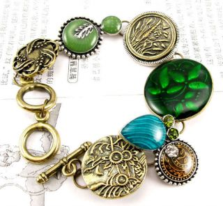 Bronze Mixed Charms Pendants Link Chains Jewelry Bracelet BR219