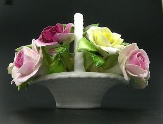 Royal Adderley Floral Bouquet Basket Roses Flower Bone China England