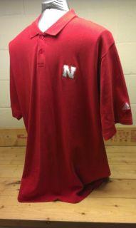 Nebraska Huskers Adidas Football Polo Shirt Big 10 Cotton X Large NCAA