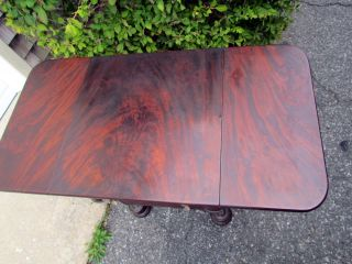 CLASSICAL* ANTIQUE AMERICAN BOSTON MAHOGANY EMPIRE SEWING TABLE
