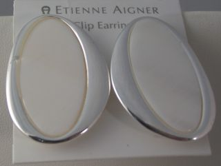 NEW Etienne Aigner Large Silver White Shell Clip on Earrings NWT