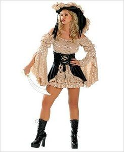 Roma Hustler Hollywood Sexy Pirate Wench S Halloween Costume hat dress