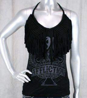 Affliction Womens Gypsy Halter Top Shirt Black Woven Fringe 111KN006