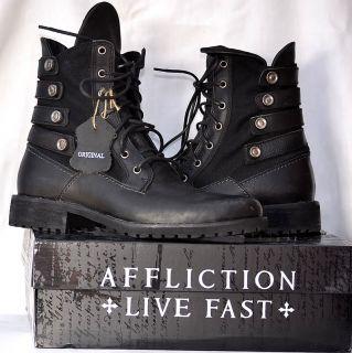 Affliction Mens BRUCH Pebbler Biker Boots   BLACK   Military   AC107
