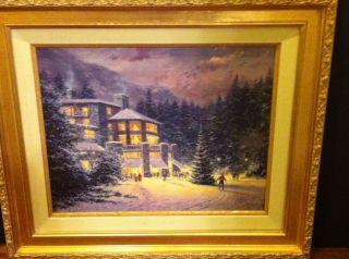 Thomas Kinkade Christmas At The Ahwahnee SN Canvas 16 x20 Framed
