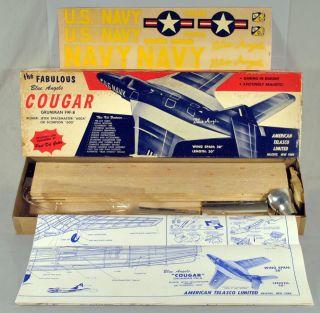 Telasco Jetex F9F 8 Blue Angels Cougar Wood Model Airplane Kit