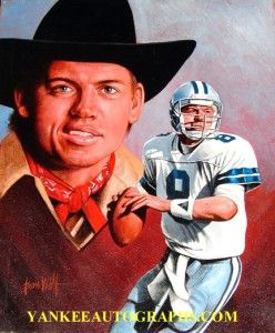 troy aikman cowboys leon wolf hand painted 16 x 20