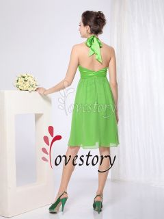 Empire Line Sexy V Neck Flower Halter Green Bridesmaid Dress 03455 US