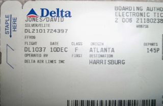 Davy Jones Personal Used Delta Airlines Boarding Pass Very RARE