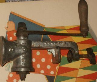 Vintage Antique Keystone Metal Meat Grinder Hand Crank Chopper 5