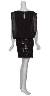 Aidan Mattox Seductive Black Chiffon Bloused Fitted Sequin Evening