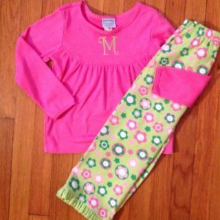 Patsy Aiken Chez Ami Pink Shirt Green Flower Pants 5 6 Mono M Initial