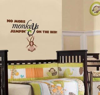 Monkey Quote Decal Children Monkeys Wall Decal No More Monkeys Jumpin