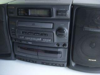 aiwa ca dw600u dual tape cd bookshelf stereo system