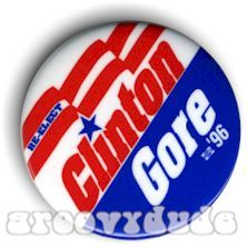 President Bill Clinton Al Gore 1996 Political Campaign 96 Pin Button