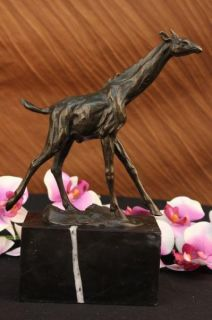 Signed Milo African Giraffe Bronze Sculpture Figure Statue Wild Animal