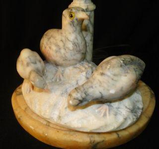 Antique Italian Carved Alabaster Marble Bird Fountain Sculpture Lamp