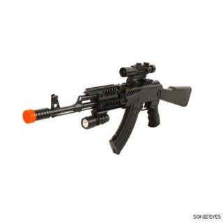 47 spring airsoft gun w flash laser scope bb ak47