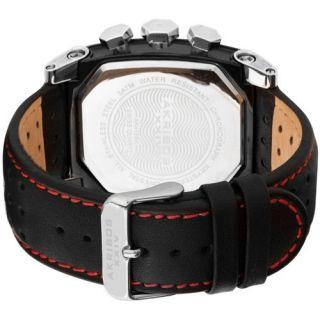 Akribos XXIV AK415BK Swiss Quartz Chronograph Leather Strap Mens Watch