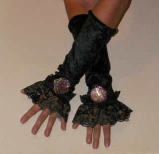 Black Velvet Gothic Victorian Lolita Steampunk Fingerless Gloves Cuffs