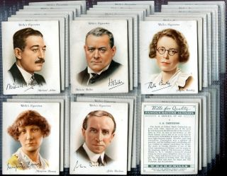 Tobacco Card Set WD HO Wills Famous British Authors AA Milne etc 1937