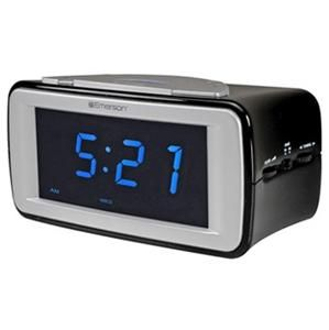 Emerson Smartset Dual Alarm Clock Radio Automatic Time Set Large Blue