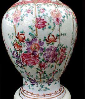 Exquisite Antique Chinese Export Porcelain Chintz Table Lamp