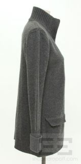 Akris Punto Grey Wool & Cashmere Open Front Long Sleeve Cardigan Size