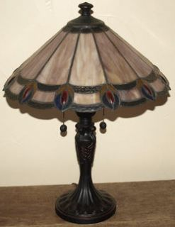 Dale Tiffany Antiques Roadshow Stained Glass Peacock Table Lamp