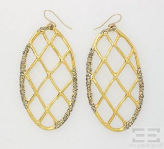 Alexis Bittar Gold Lattice Crystal Embellished Dangle Earrings