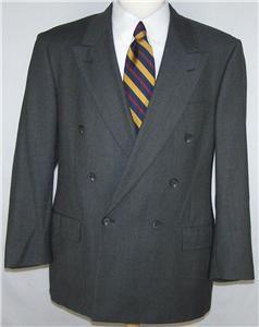 42R Perry Ellis Charcoal Brown Tweed DB Sport Coat Jacket Suit Blazer