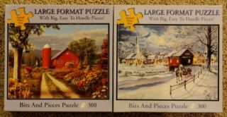 Bits and Pieces 300 Large Format Puzzles Easy EZ Grasp Bow WOW New