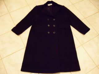 Womens Albert Nipon Boutique Wool Coat Size 14 Black Long Velvet