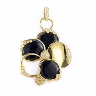 Alessandro Fanfani 18K Yellow Gold Black Enamel Diamond Flower