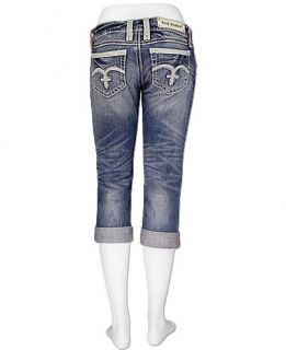 Rock Revival 27 Alanis Jeans Capris Cropped Stretch Woman Buckle RV $