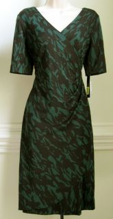 Alex Marie Womens Short Sleeve Dress Black Green New Discount