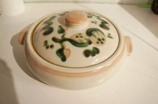 Painted Lidded Ceramic Casserole Dish by Mary Alice M A Hadley