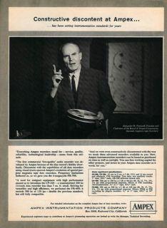 Ampex 1961 Ad Reel Tape Recorder Alexander M Poniatoff