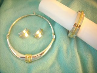 Alexis Kirk Set Goldtone and Silvertone Necklace Bracelet Earring Set