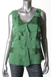 Alfani New Green Ruffled Front Shutter Casual Top Blouse Petites PM