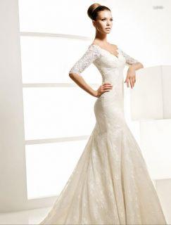 Vintage Custom Bridal Wedding Dress Gown V Neck 1 2 Sleeve Lace
