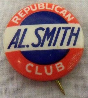 Campaign Pin Pinback Button Political Election Badge AL ALFRED SMITH