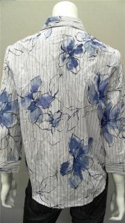 Alfred Dunner Womens Petite 8P Collared Button Down Top Blue Floral