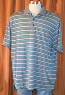 Adidas ALISO Viejo Country Club Gray Green Blue Stripe Golf Polo Shirt