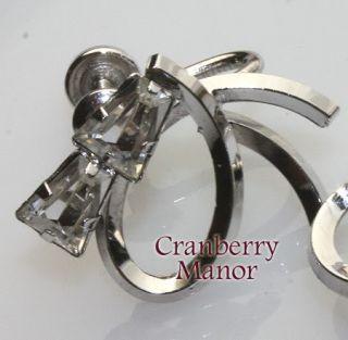 Vintage Star Art Sterling Rhinestone Brooch Earrings