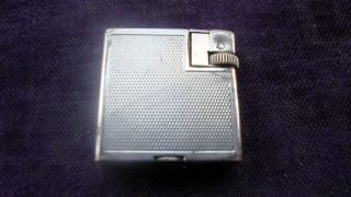 1930s Alfred Dunhill Savory Squareboy Petrol Lighter Silver Plate Fab