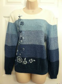 Alfred Dunner Size PXL Womans Multi Blues Sweater With Beautiful