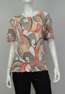New Alfred Dunner Womens Blouse Short Sleeves Multi Top L